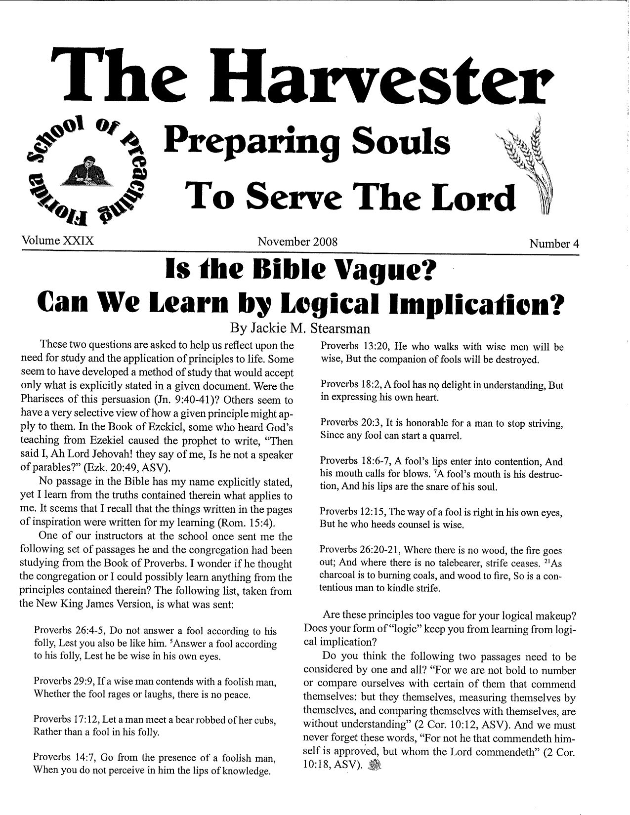 """Featured image for """"Harvester November 2008: Is The Bible Vague? Can We Learn By Logical Implication?"""""""