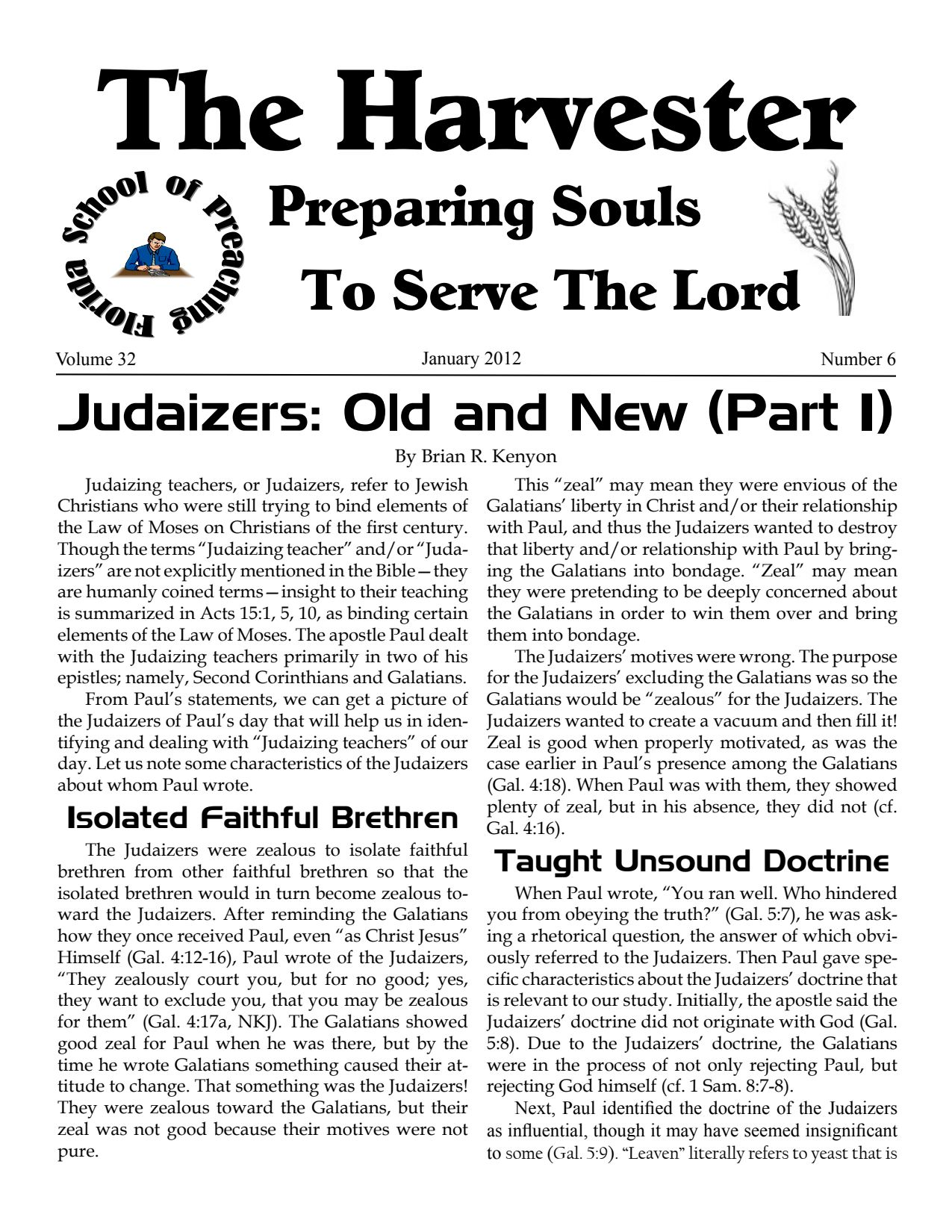 """Featured image for """"Harvester January 2012: Judaizers: Old And New (Part 1)"""""""