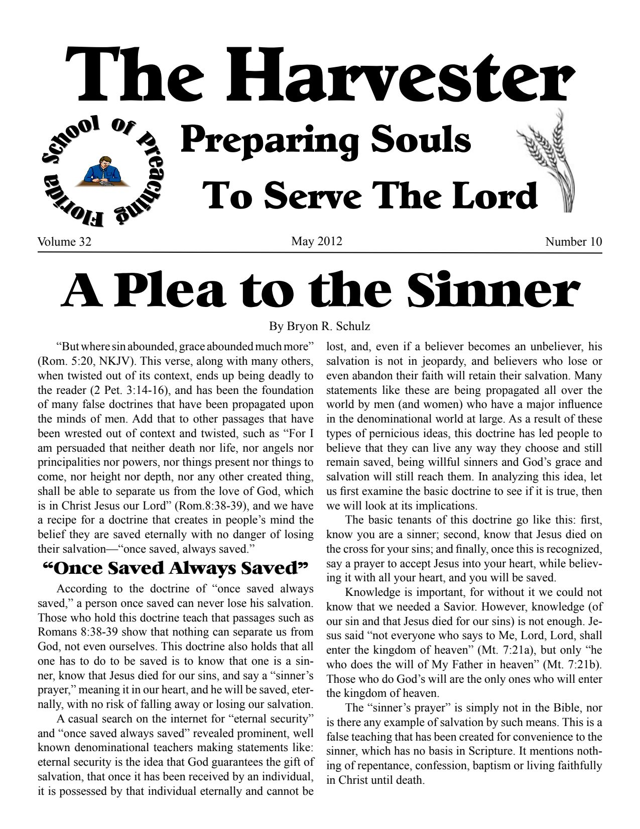 """Featured image for """"Harvester May 2012: A Plea To The Sinner"""""""