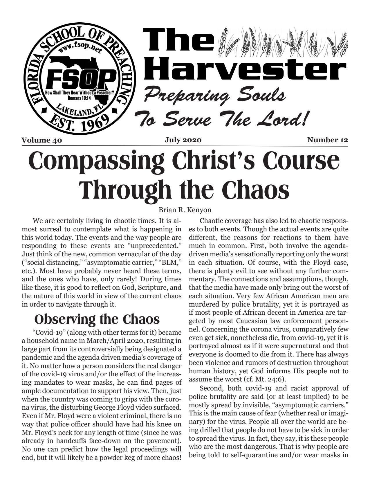 """Featured image for """"Harvester July 2020: Compassing Christ's Course Through The Chaos"""""""