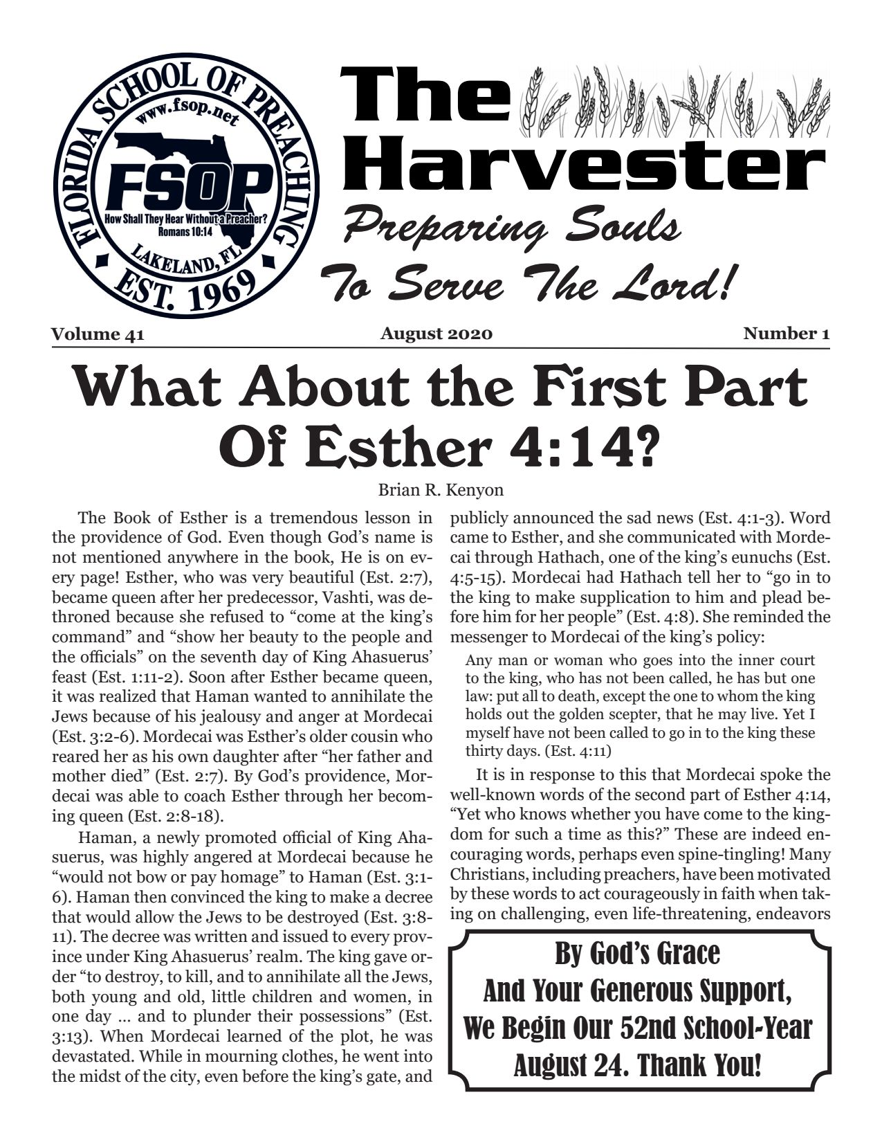 """Featured image for """"Harvester August 2020: What About The First Part of Esther 4:14?"""""""