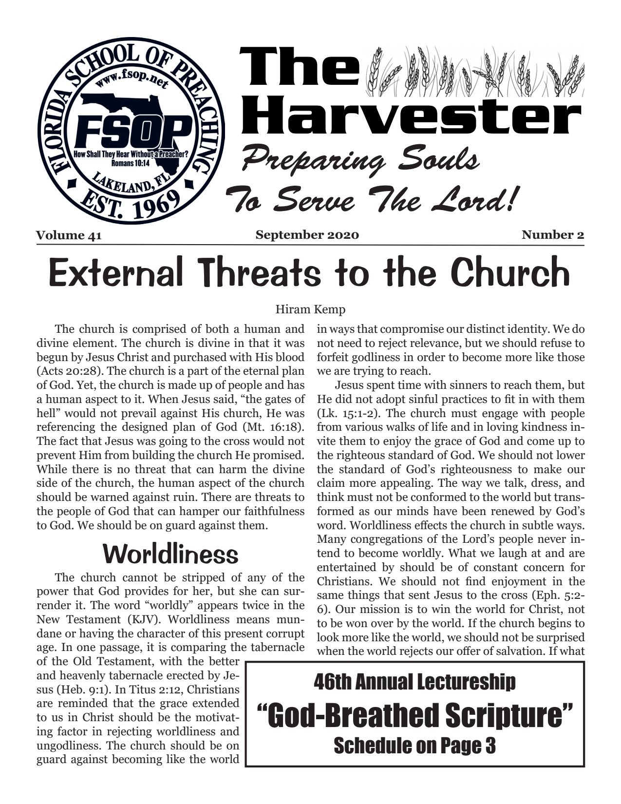 """Featured image for """"Harvester September 2020: External Threats To The Church"""""""