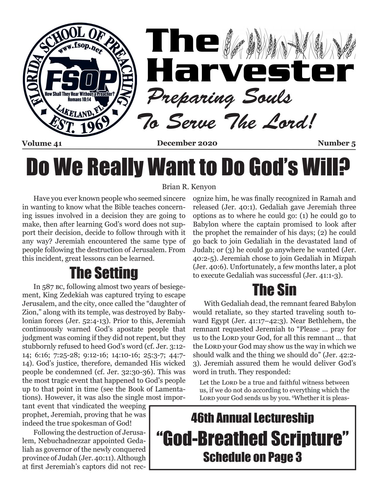 """Featured image for """"Harvester December 2020: Do We Really Want to Do God's Will?"""""""