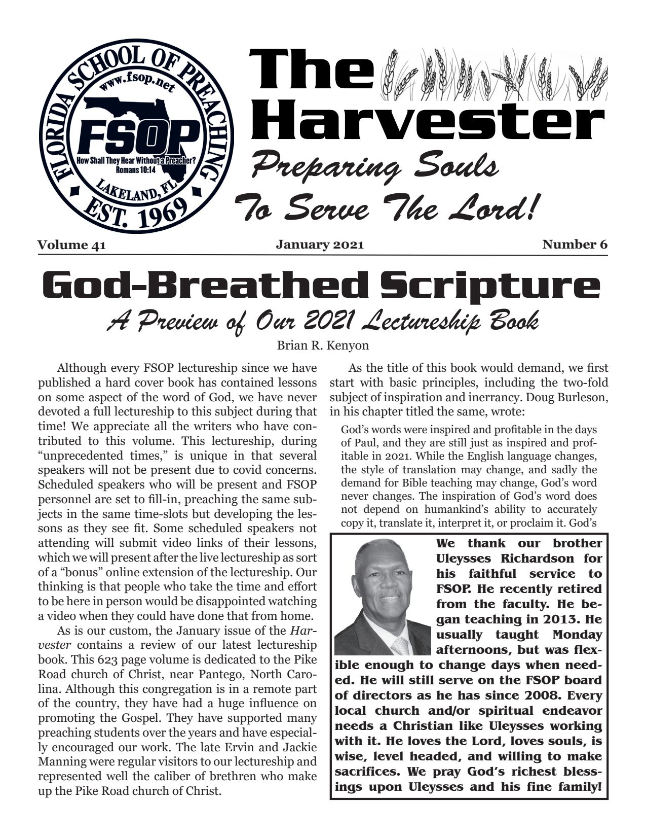 """Featured image for """"Harvester Jan 2021: God-Breathed Scripture (A Preview of our Lectureship Book)"""""""