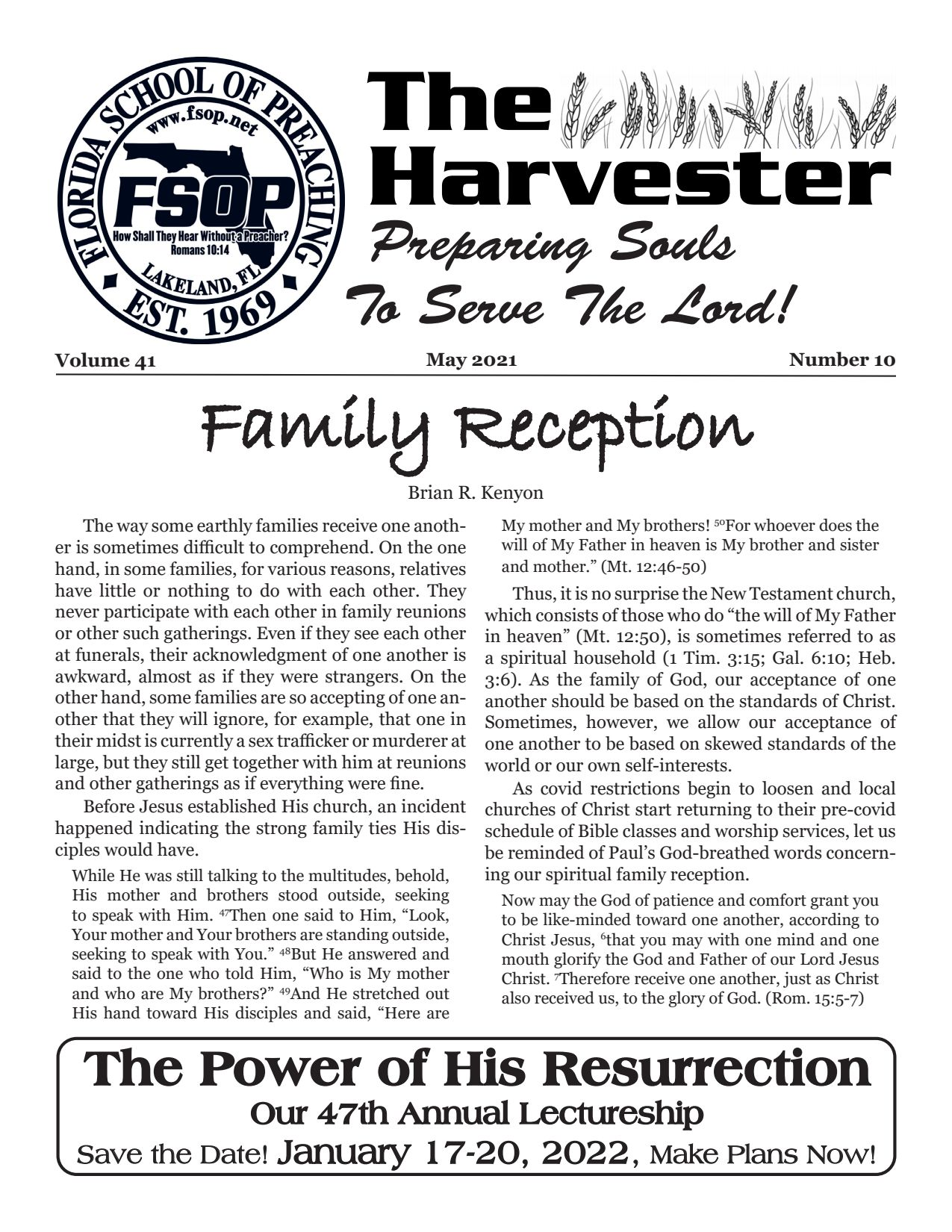"""Featured image for """"Harvester May 2021: Family Reception"""""""