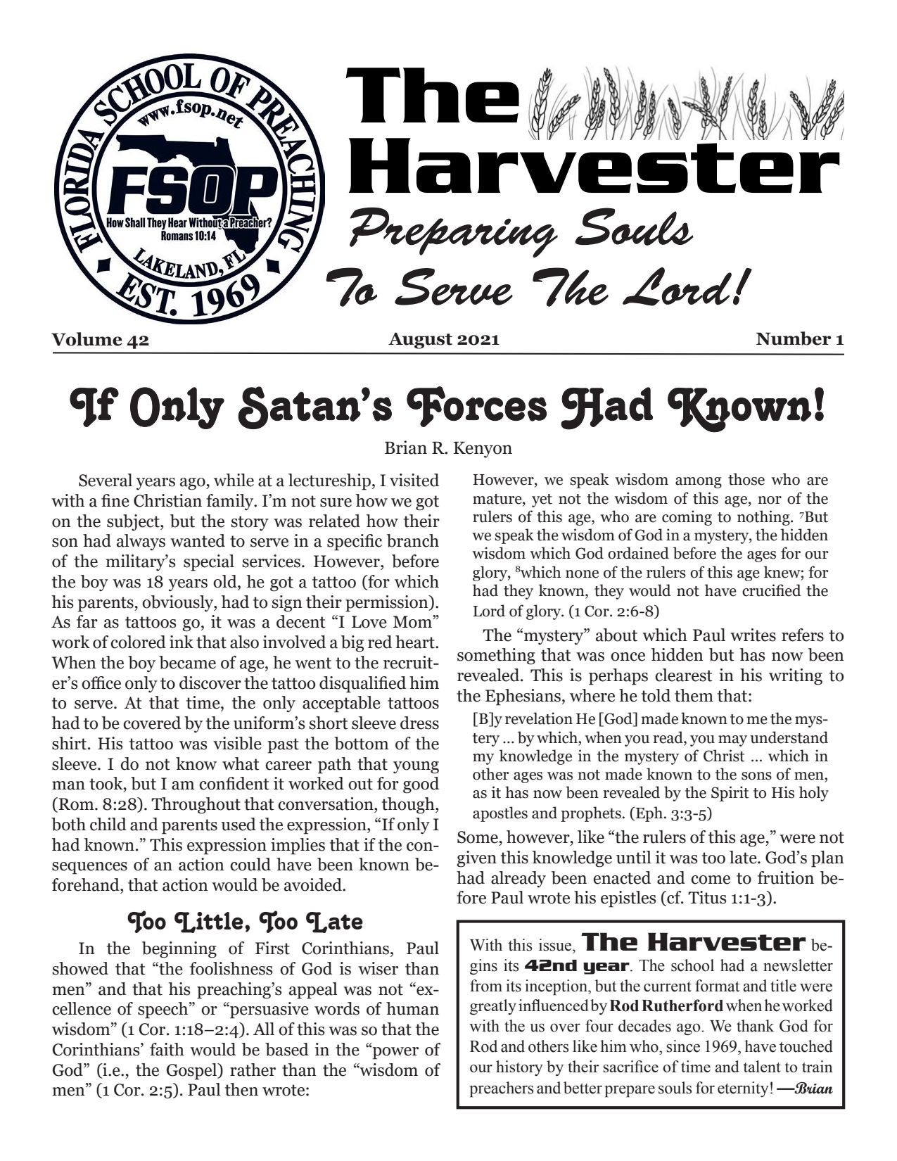 """Featured image for """"Harvester Aug 2021: If Only Satan's Forces Had Known!"""""""