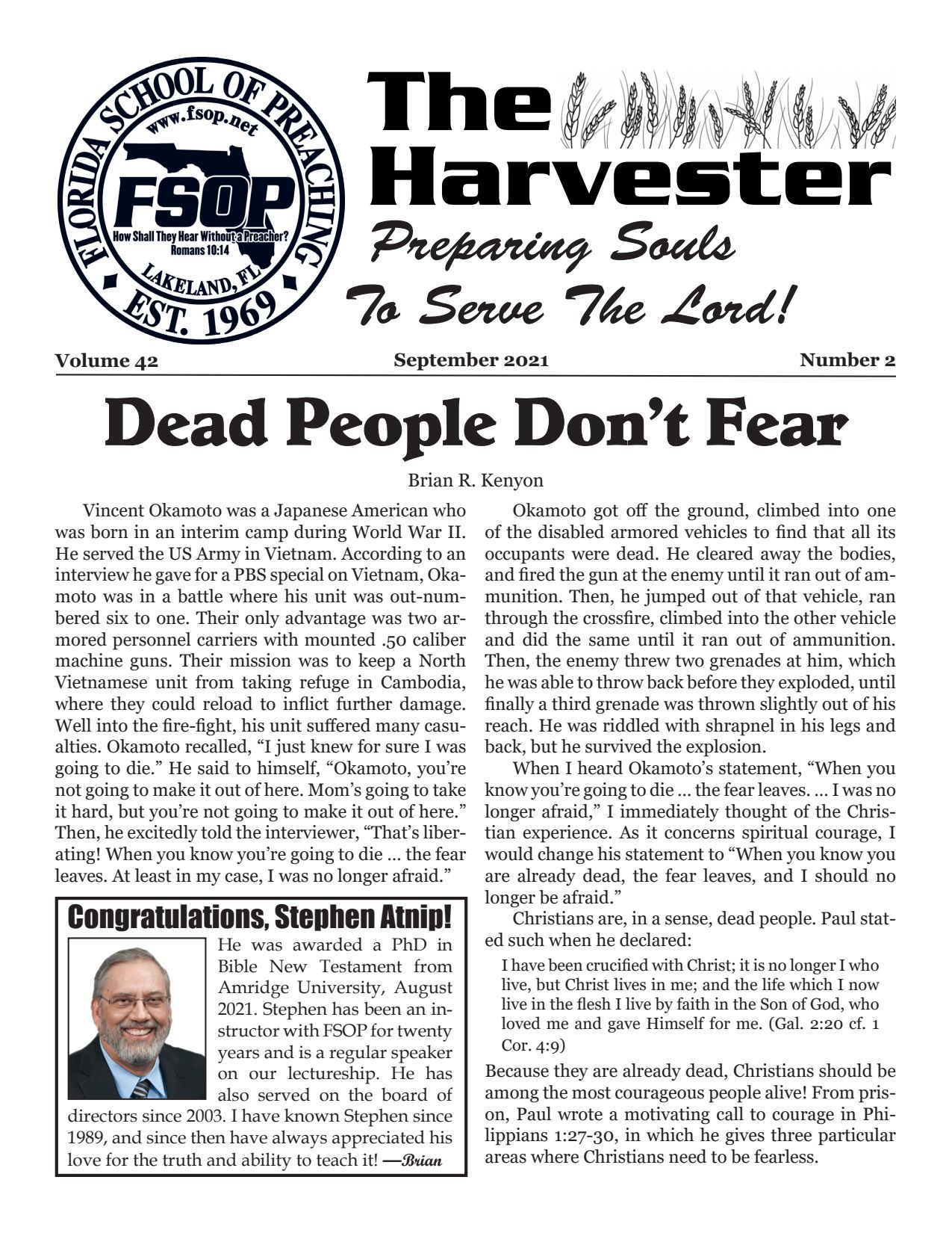 """Featured image for """"Harvester Sept 2021: Dead People Don't Fear"""""""